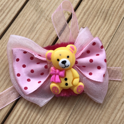 Kids Lovable Teddy Rakhi with Red-Dotted Pink Bow