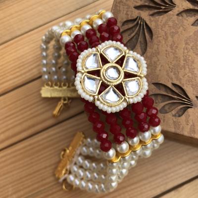 Blissful Red and White Beads Bracelet Brother Rakhi for Rakshabhandan