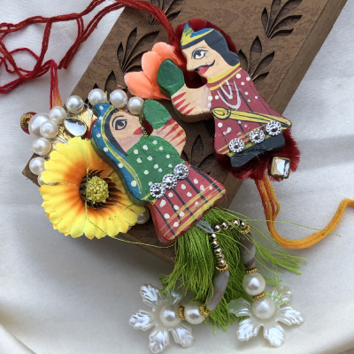 Beautifully Handicrafted Bhayia Rakhi with Beads Work Lumba Rakhi Set