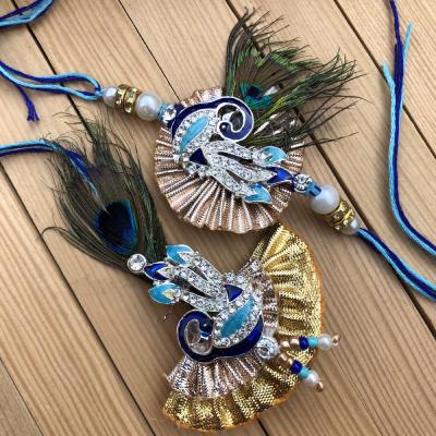 Traditional Gotta Patti Work Peacock Design Feather Look Bhayia Bhabhi Rakhi Set
