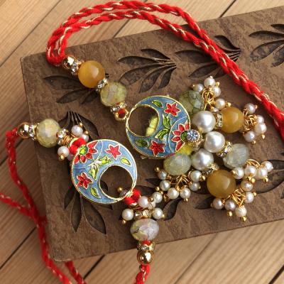 Graceful Floral Pattern Beads Look Rakhi Set for Bhaiya Bhabhi