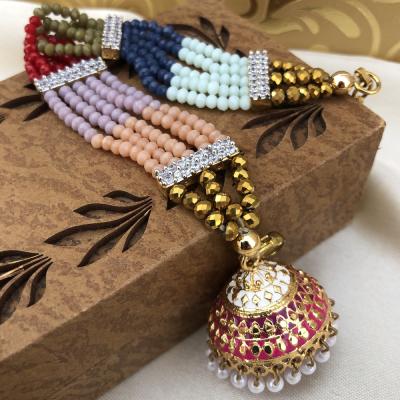 Designer Colorful Pearl Work Traditional Bracelet Rakhi