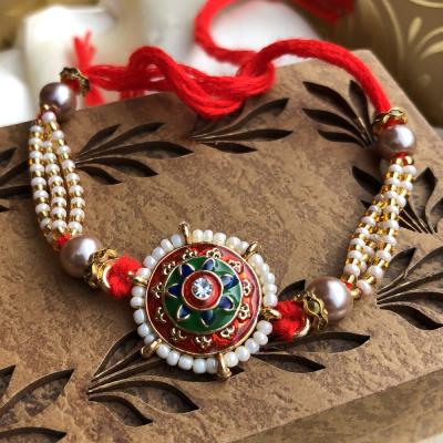 Splendid Stone with White Beads Rakhi for Brother
