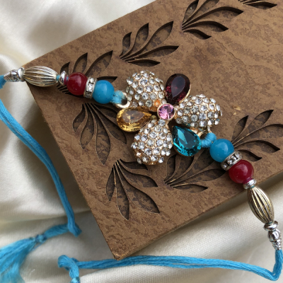 Artistic Stone Work Magnificent Rakhi for Brother