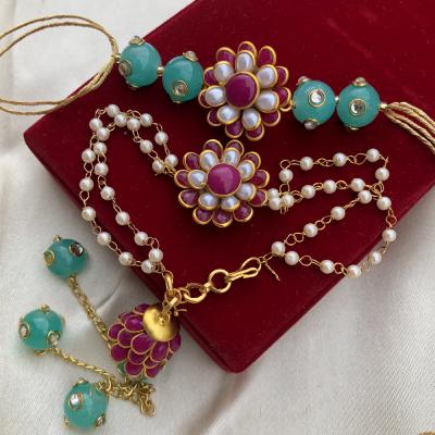 Creative Flower Design with Beads Rakhi Set for Bhaiya Bhabhi