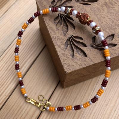 Auspicious Rudraksha Beads Rakhi Bracelet for Bhaiya
