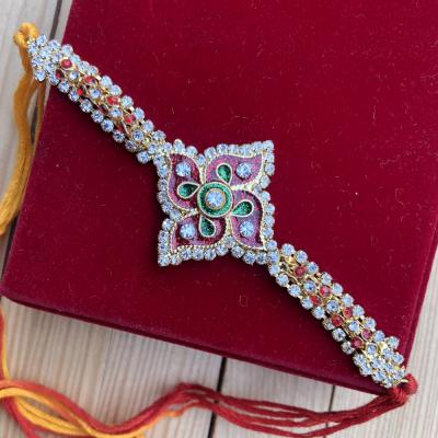 Royal Stone work Bracelet Look Thread Rakhi for Brother