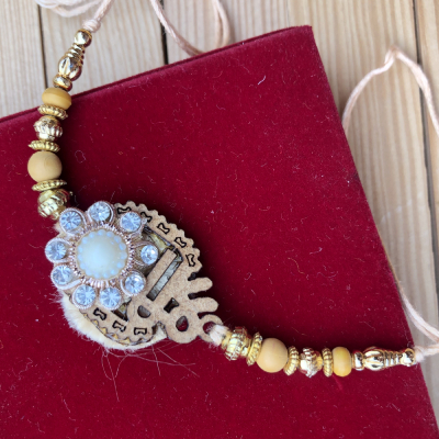 Festive Shree Design with Stone Wooden Rakhi for Brother